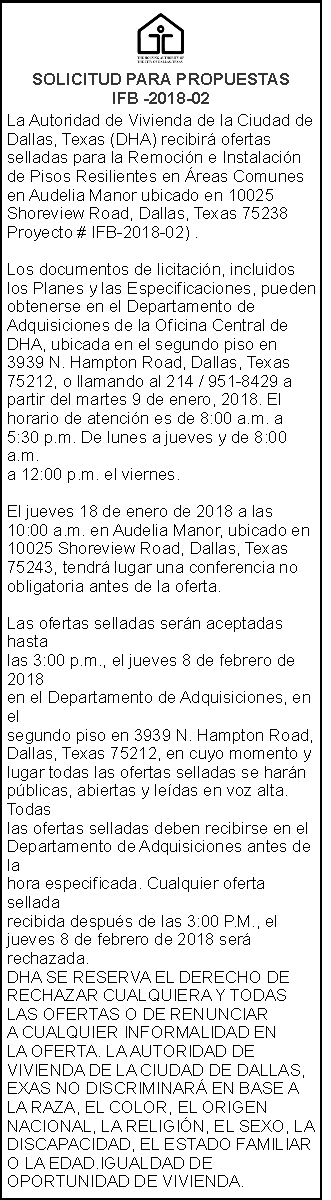 Dallas Housing Authority - Solicitud para Propuestas